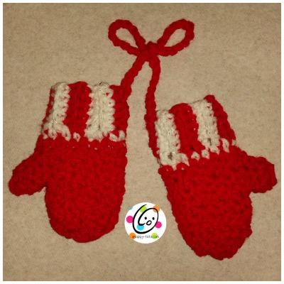 Free crochet pattern for mitten ornament.