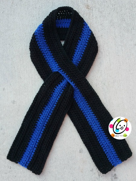 thin blue line scarf free crochet pattern
