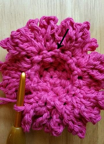 crochet scrubbie st placement