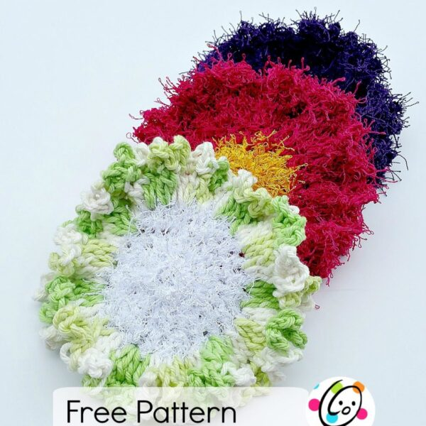 Pattern: Scrubby Yarn Review and Flower Scrubbers