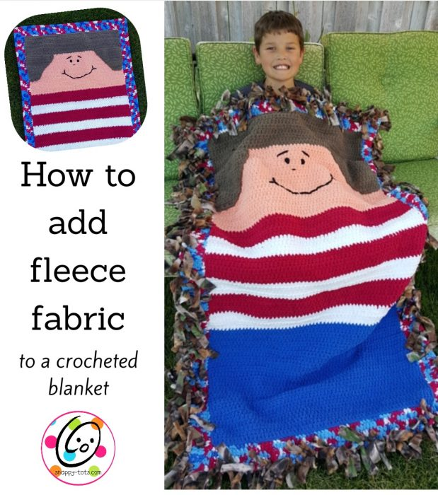 How to add fleece fabric to a crochet blanket