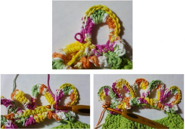 flower power dishcloth