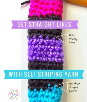 Straight lines from self striping yarns