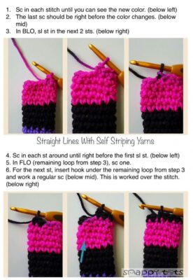 Straight lines with self striping yarn