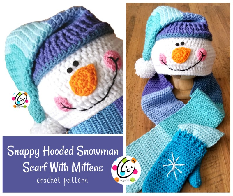 Pattern Snappy Hooded Snowman Scarf With Mittens Snappy